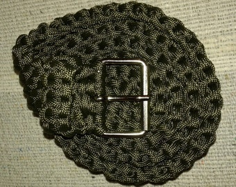 Paracord Survival/Rescue Belt, OD green. 95cm (37,5 inches)/3,5cm. (1,38 inches)
