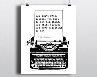 F. Scott Fitzgerald Instant Digital Download Quote Print, Fitzgerald Art Poster, B&W Typewriter Illustration, Literary Art Poster, 8x10 Art
