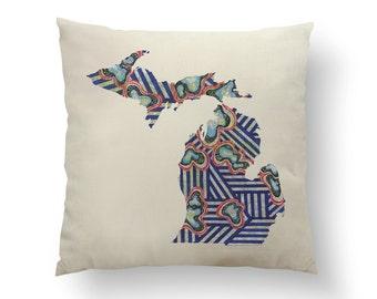 "16"" Blue Stripe Michigan State Pillow w/ Insert, holiday Throw Pillow, State Art, Michigan Gift, Housewarming Gift, Map Pillow, Throw Pillow"