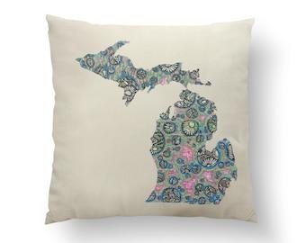 "16"" Petoskey Bubbles Michigan State Pillow w/ Insert, Throw Pillow, State Art, Michigan Gift, Housewarming Gift, Map Pillow, Throw Pillow"