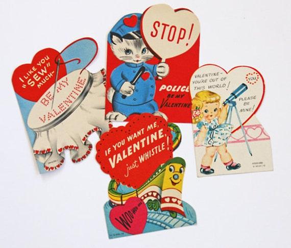 Vintage Valentines Set of 4 - Ephemera - Card - Altered Art - Mixed Media - Scrapbooking - Collage - Assemblage