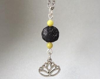 Silver Lava Rock Lotus Necklace
