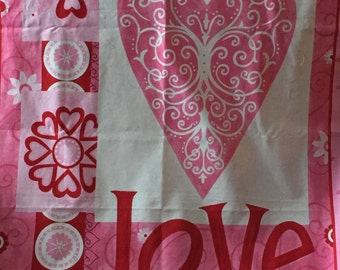 "MODA, ""LOVE is in the AIR"",Pink Hearts, 100% Cotton"