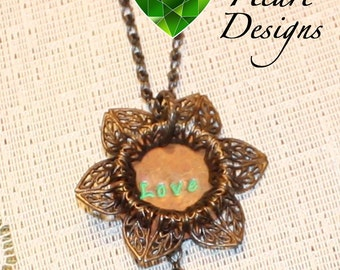 "Flower ""Love"" Pendant with Green Glass Bead"