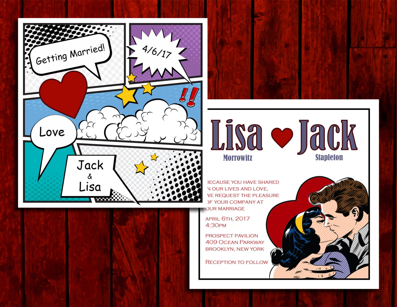 Comic Love: Wedding Invitation Suite; Print at Home Wedding ...
