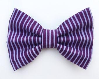 BIG Purple Stripe Bow, baby girl, girl toddler, coral bow, toddler clip, baby clip, baby gift, toddler headband, baby headband
