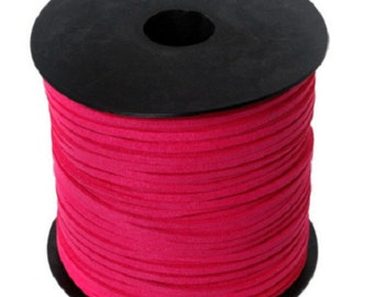 5 Metters aspect imitation suede fuchsia 3 mm Ribbon