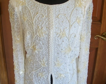 Beautiful VTG  Mon Cheri  White Beaded Silk Bridal Top. Covered With White Pearls & Assorted Beads. Dressy/Special Event/Party. Size 8  NWT