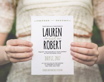 Wedding invitation template | Printable wedding invite | instant download | COLOR and TEXT editable | Microsoft word | Diy wedding template
