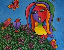 """Acrylic abstract pop art painting on canvas colourful vibrant colours garden birds butterfly flowers woman 61×61×2cm (approx. 24""""×24""""×1"""")"""