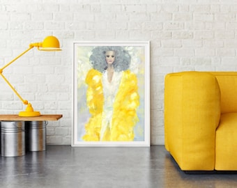 Yellow goes pop ll, fashion illustration, print, posters, fine art print, wall art