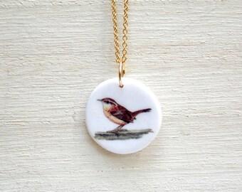 Bird necklace, wren necklace, bird pendant, songbird necklace, bird charm necklace, bird jewelry, nature jewelry, everyday necklace, wren
