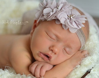Dusty lilac flowers newborn headband, infant headband, baby headband, newborn photo prop, headband, toddler headband, vintage headband