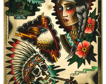 "Tattoo Flash WESTERNSWING ""Indians"" JOHNNY BARREL"