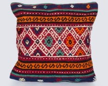 Pillow Cover from Kilim with tribal print and diamond repeat print, bright pops of color - Free shipping if you buy 3