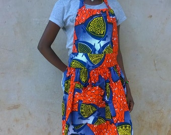 Bold Orange Kitenge Apron, Ugandan African Fabric