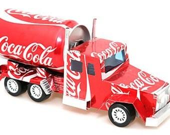 Recycled Tin Can Truck (Pepsi, Coca Cola, Diet Coke, Schweppes, Heineken, Tiger Beer) Soda can / Pop can