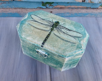 Dragonfly Jewelry Box,Dragonfly Art Box,Teal Wooden Box,Wood Treasure Chest,Teal Trinket box,Dragonfly Trinket Box,Teal Green Box,Memory Box