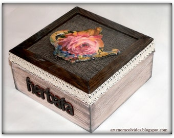 "Wooden box ""Tea time"" with four compartments"