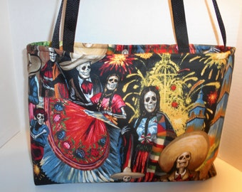 Las Calaveras tote, Skull tote carry on bag, Folklorico tote bag, San Marcos Festival tote bag, Folklorico shoulder bag, Skeleton tote