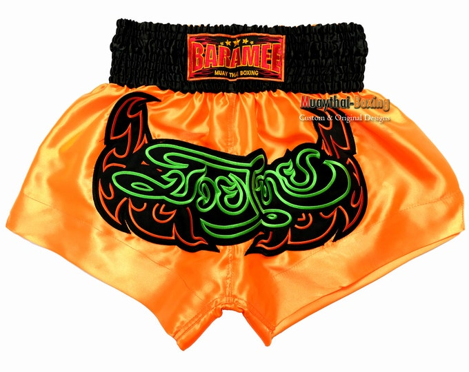 Muay Thailand Boxing Shorts for Training and Sparring Boxing Trunks Martial Arts - ORANGE