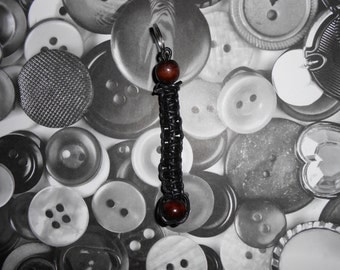 black leather &wood beaded key chain