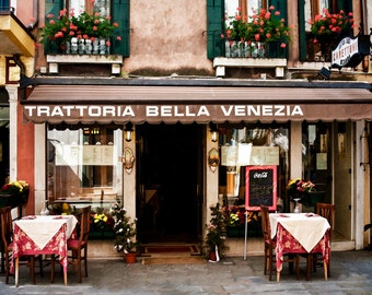 Venice Italy, Trattoria Photo,  Venice Italy Ristorante, Venice Outdoor Dining,Italy Wall Decor, Trattoria Photo, Fine Art Photograph