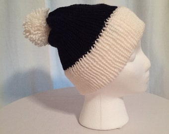 Stripped hat, black and white beanie, winter hat, beanie, hat, hats, black beanie, white beanie, winter beanie, knitted hat