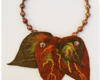 short necklace with brown felt leaves