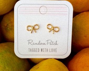 Golden Bow Earrings, Gold Bow Earrings, Gold Bows, Cute Bows,  Gold Earrings, Gold Studs, Gifts for Girls
