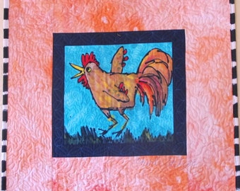 Set of Two Whimsical Hen and Rooster Hand Made Quilted Wall-Hangings, 25 x 27 inches