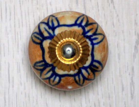 Mustard Round Decorative Small Ceramic Door Knobs Dresser