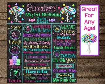 Girl's First Birthday Chalkboard, candy chalkboard poster, Candy Theme, Candyland, Girl's Birthday Decoration, Second Birthday, lollipop