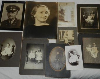 Lot of 10 Vintage Photos / photographs / Portraits - Cabinet cards and other vintage images                                            4-49