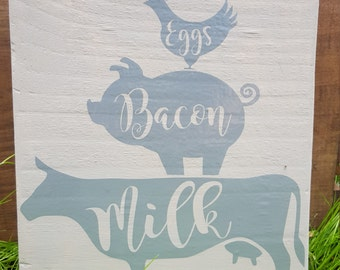 Cow Pig & Chicken Kitchen Counter Free Standing Sign