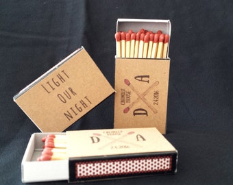 10 x Personalised Favours Matchbox 'Light Our Night' Wedding - Matches