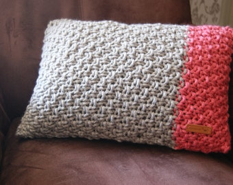 Beige-coral red pillow