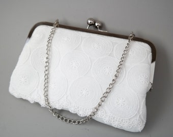 Bridal white lace and silk clutch bag