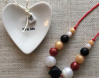 Silicone Black Hexagon Teething Necklace with Red, Gold and White Pearl Beads, Silicone Sensory/Teething Necklace for mom, Breastfeeding