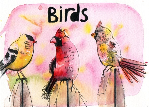 Birds - Pen and Watercolour Painting