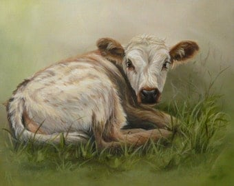 Original Canvas by Alison Armstrong - Farm Animal/Cow painting - Longhorn Calf