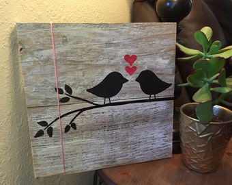 Love birds wood sign