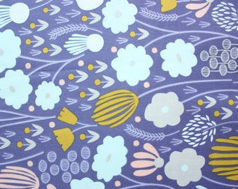 Organic Fabric / Cloud 9 Fabrics / Elizabeth Olwen / Morning Song / Organic Cotton / Floral Purple / Quilting Crafting Sewing / Half Metre