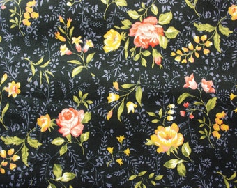 Floral Fabric / Cotton Fabric / Medium size flowers / Black / Red Yellow Flowers / Crafting Quilting Sewing Patch / Half Metre