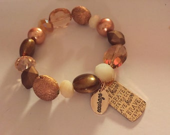 Stretchy Copper tones brave bracelet
