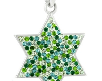 925 sterling silver star of David pendant with green crystal cz gemstone Judaica 2.3 cm exclusive