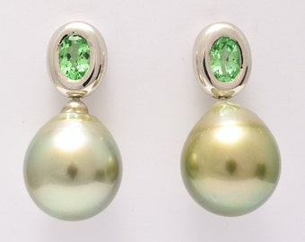 Studs • Tsavorite • Tahiti Cultured Pearl • Gold • drop • Garnet