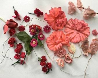Vintage Millinery Flowers Supplies in Deep Pinks, Reds, and Coral FREE SHIPPING to USA