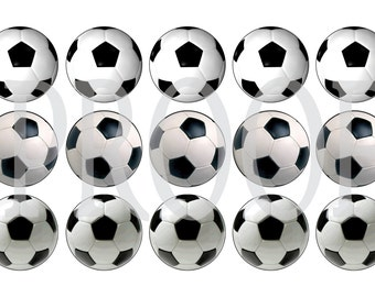 Digital Bottle Cap Image Sheet - Soccer Ball - 1 Inch Digital Collage - Instant Download