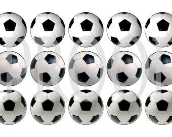 Digital Bottle Cap Image Sheet - Soccer Ball - 1 Inch Digital Collage - Instant Download